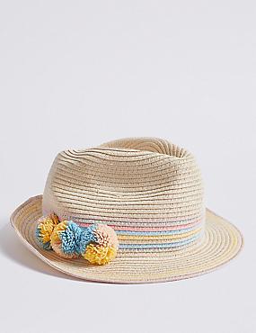 0ef735249 Sombrero Trilby infantil con pompón (6 nbsp meses-14 nbsp ...