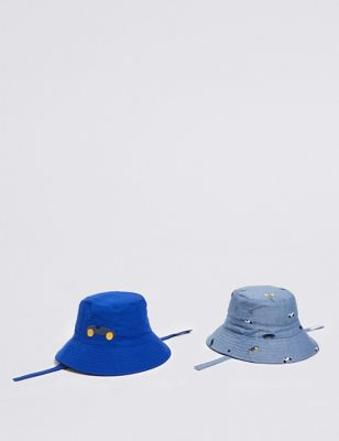 075e3592 Kids' 2 Pack Pure Cotton Bucket Hats (0-6 Years) £12.00 - £14.00