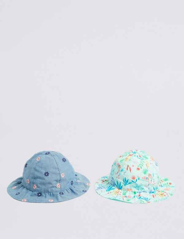 23b5da2ee96c6 Kids  2 Pack Pure Cotton Hats (0-6 Years)