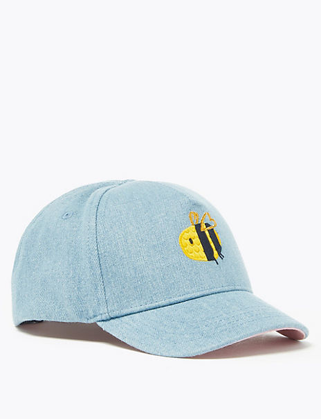 Kids' Cotton Bee Embroidered Baseball Cap (1-6 Years)