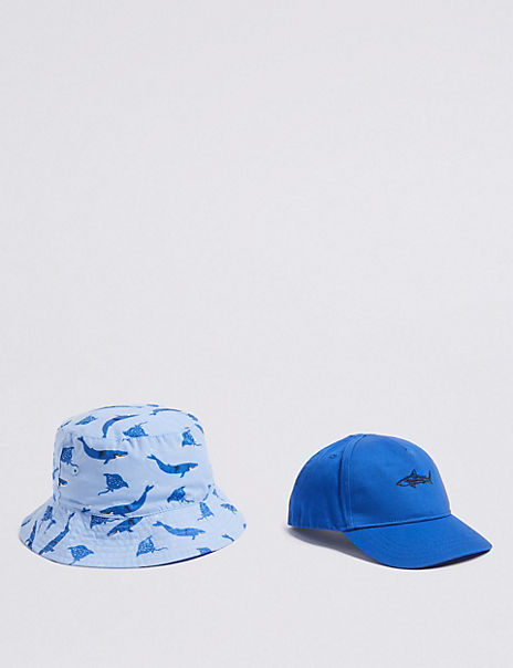 Kids' 2 Pack Pure Cotton Bucket Hat & Cap (0 Month - 6 Years)