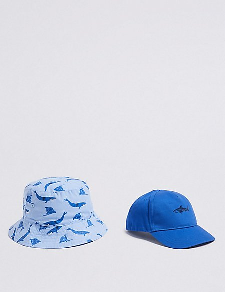 Kids' 2 Pack Bucket Hat & Cap with Sun Smart UPF50+ (0 Month - 6 Years)
