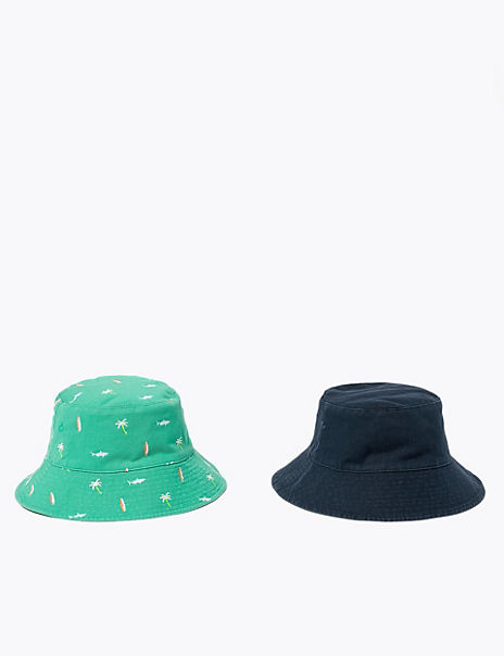 Kids' 2 Pack Pure Cotton Sun Hats (6-14 Years)