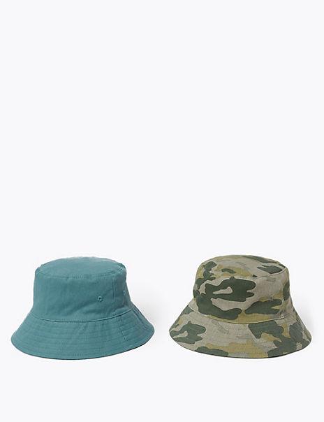 Kids' 2 Pack Pure Cotton Camo Sun Hats (6-14 Yrs)