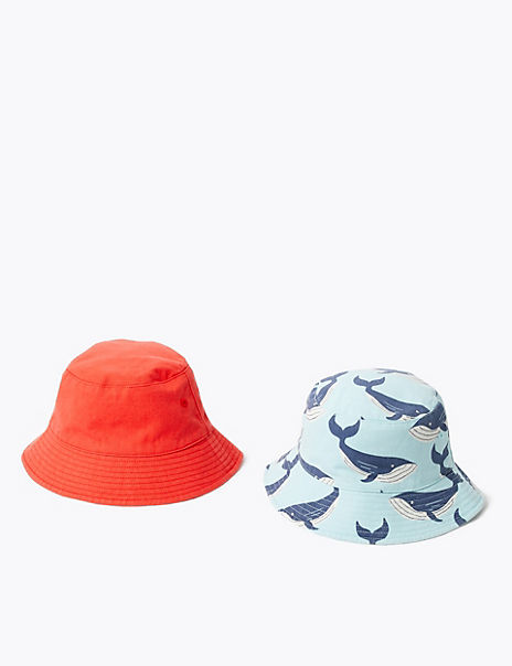 Kids' 2 Pack Cotton Whale Print Sun Hats (1-6 Years)