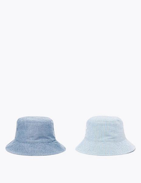 Kids' 2 Pack Pure Cotton Sun Hats (0-12 Months)