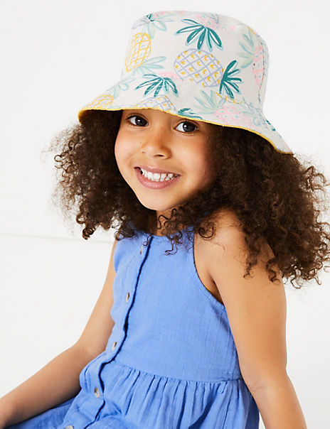 Kids' Pure Cotton Pineapple Sun Hat (1-6 Years)