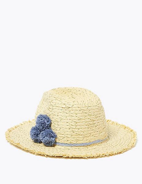 Kids' Pom Pom Sun Hat (6-14 Years)