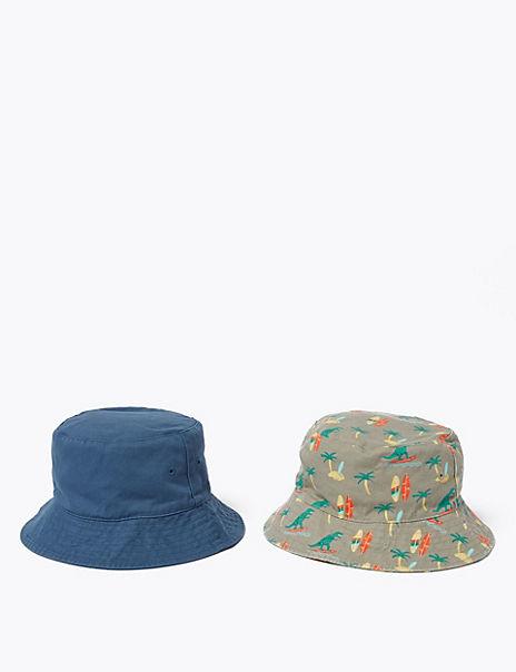 Kids' 2 Pack Pure Cotton Dinosaur Sun Hats (1-6 Yrs)