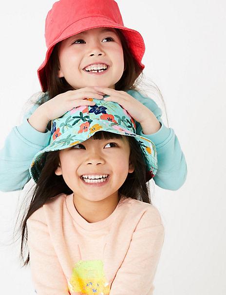 Kids' 2 Pack Pure Cotton Floral Sun Hats (1-6 Yrs)