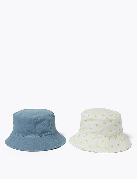 Kids' 2 Pack Pure Cotton Lemon Sun Hats (6-14 Yrs)