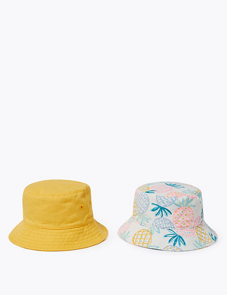 Kids' 2 Pack Pure Cotton Pineapple Sun Hats (1-6 Yrs)