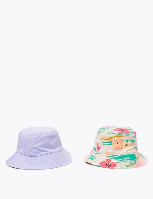 Kids' 2 Pack Pure Cotton Tropical Sun Hats (6-14 Yrs)