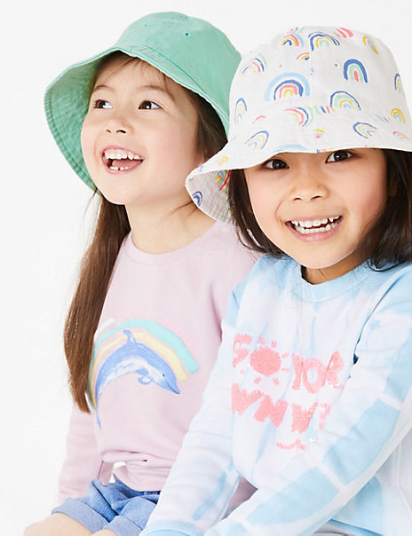 Kids' 2 Pack Pure Cotton Rainbow Sun Hats (1-6 Yrs)