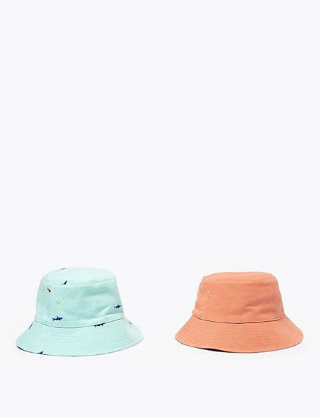 Kids' 2 Pack Pure Cotton Animal Sun Hats (1-6 Yrs)