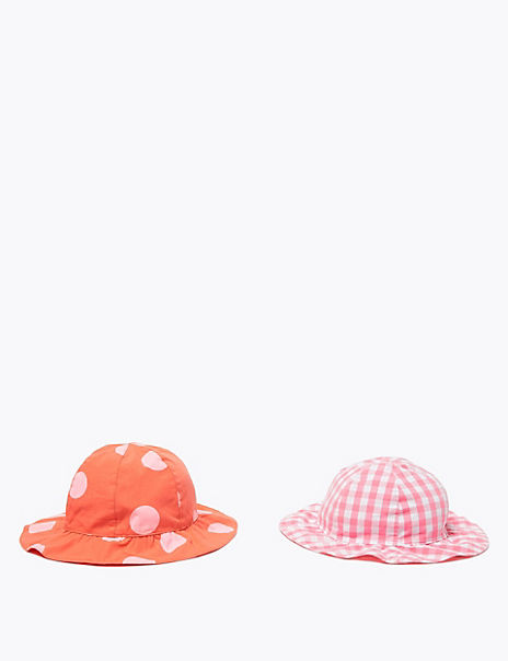 Kids' 2 Pack Pure Cotton Patterned Sun Hats (1-6 Yrs)