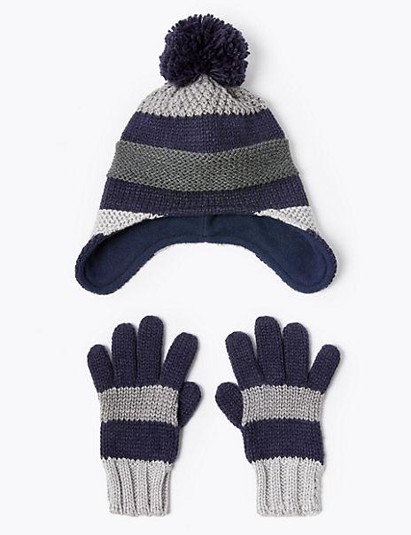 Kids' Striped Pom Pom Hat & Glove Set (3-14 Years)