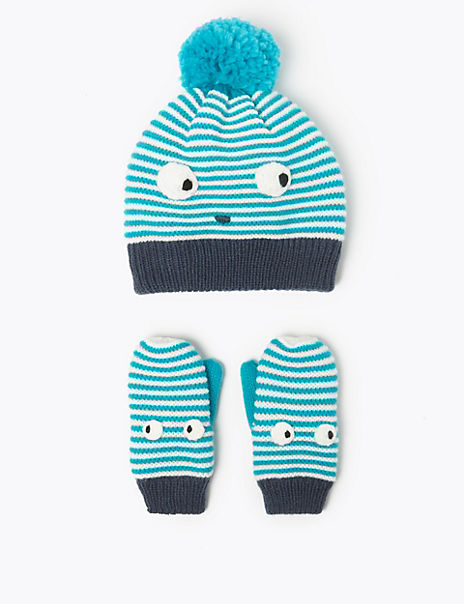 Kids' Striped Face Hat & Mitten Set (6 Months - 6 Years)