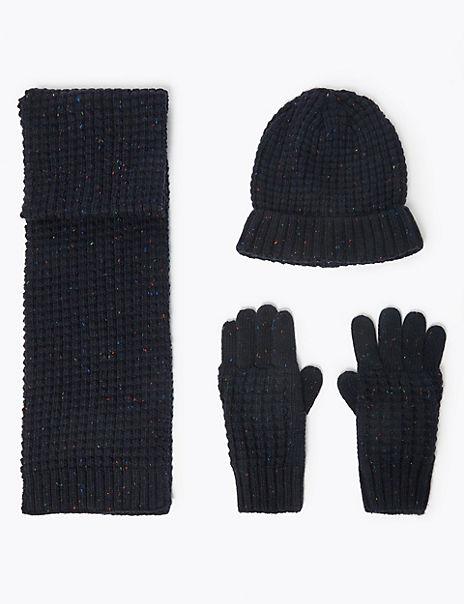 Kids' Textured Hat, Scarf & Gloves Set (3-14 Years)