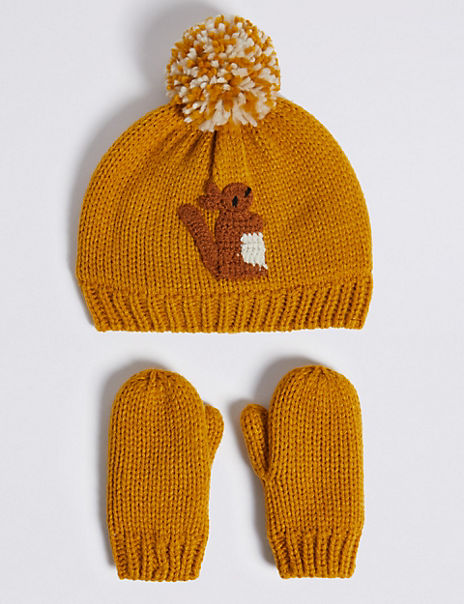 Kids' Squirrel Hat & Mittens Set (6 Months - 6 Years)