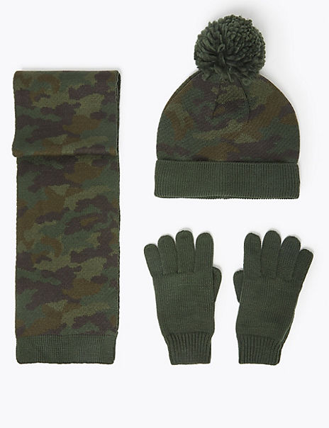 Kids' Camo Hat, Scarf & Glove Set (3-14 Years)