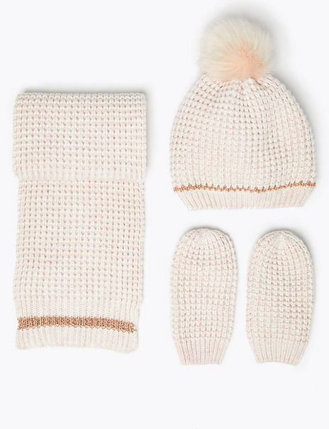 Kids' Pom Pom Hat, Scarf & Mitten Set (6 Months - 6 Years)