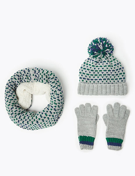 Kids' Textured Hat, Scarf & Gloves Set (3-14 Years)