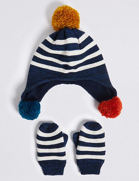 Kids' Striped Hat & Mittens Set (6 Months - 6 Years)