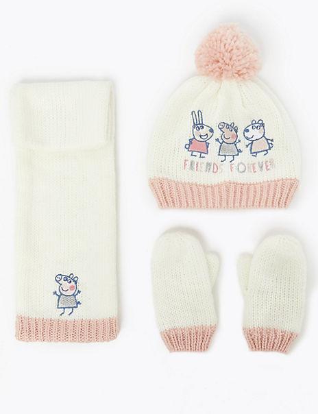 Kids' Peppa Pig™ Hat, Scarf & Mitten Set (6 Months - 6 Years)