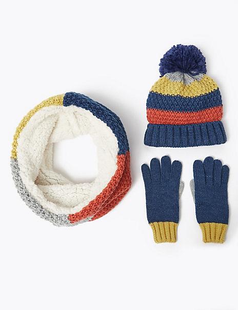 Kids' Striped Hat, Snood & Gloves Set (3-14 Years)