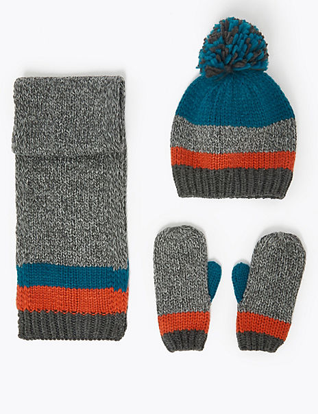 Kids' Striped Hat, Scarf & Mittens Set (6 Months - 6 Years)