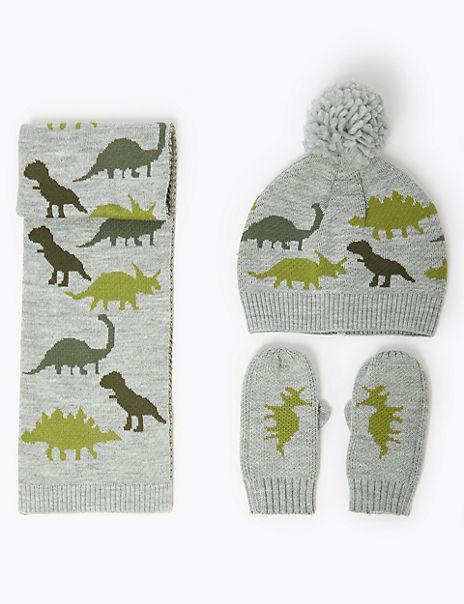 Kids' Dinosaur Hat, Scarf & Mittens Set (6 Months - 6 Years)