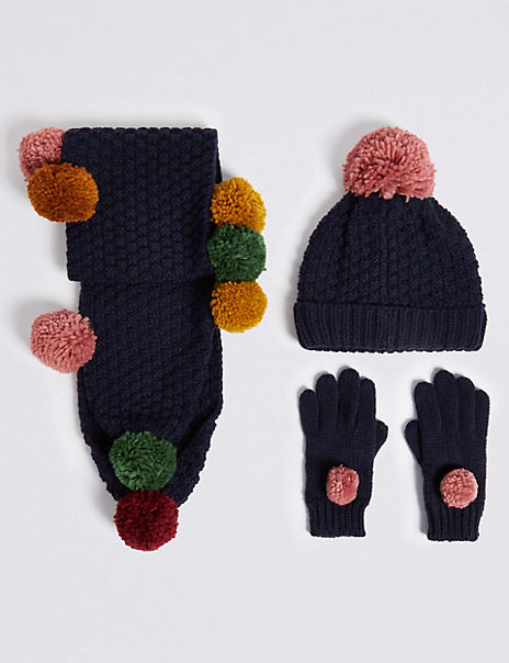Kids' Pom Pom Hat, Scarf & Gloves Set (3-14 Years)