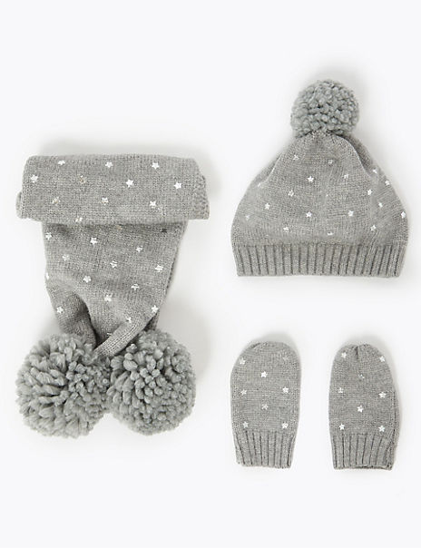 Kids' Star Hat, Scarf & Mittens Set (6 Months - 6 Years)