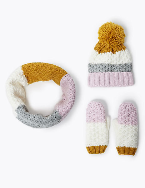 Kids' Colour Block Hat, Scarf & Mittens Set (3-14 Years)