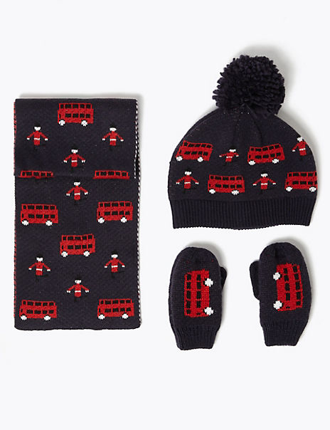 Kids' Bus Hat, Scarf & Mittens Set (6 Months - 6 Years)