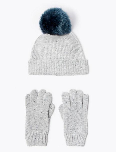 Kids' Pom Hat & Glove Set (3-14 Years)