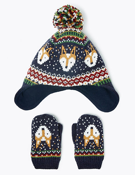 Kids' Fair Isle Fox Print Trapper Hat & Mitten Set (6 Months - 6 Years)