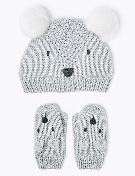 Kids' Animal Hat & Mitten Set (6 Months - 6 Years)
