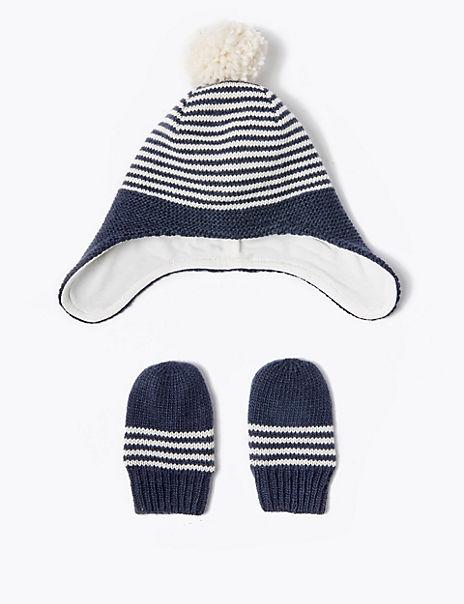 Baby Striped Trapper Hat & Mitten Set (0-12 Months)