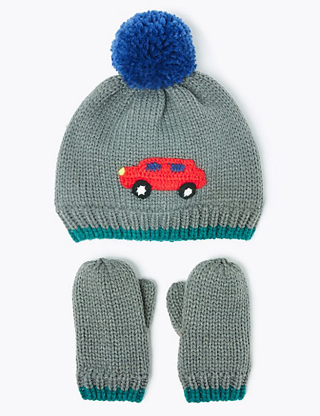 Kids' Car Hat & Mitten Set (6 Months - 6 Years)