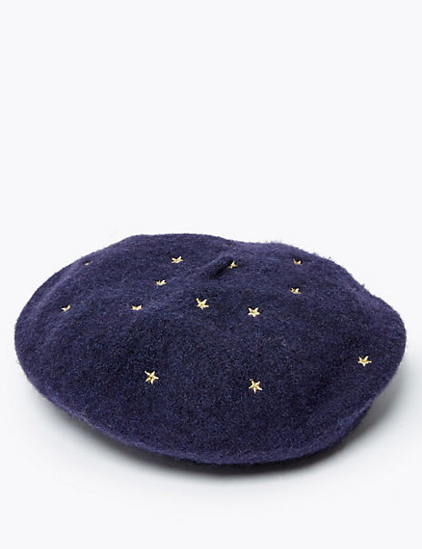 Kids' Wool Embroidered Star Print Beret (3-14 Years)