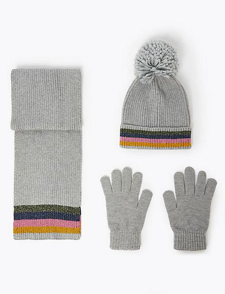 Kids' Rainbow Trim Hat, Scarf & Gloves Set (3-14 Years)