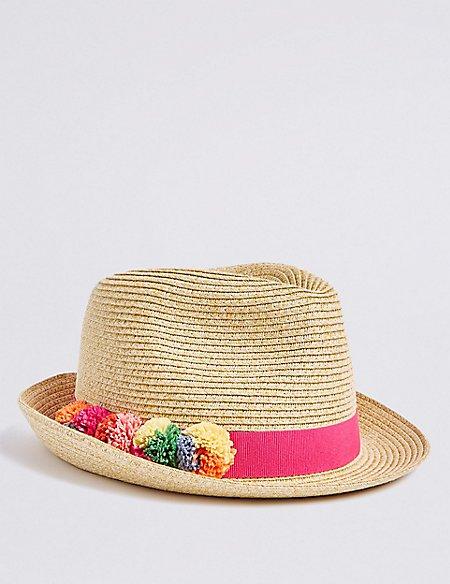 Kids' Pom-pom Trilby Hat (3-14 Years)