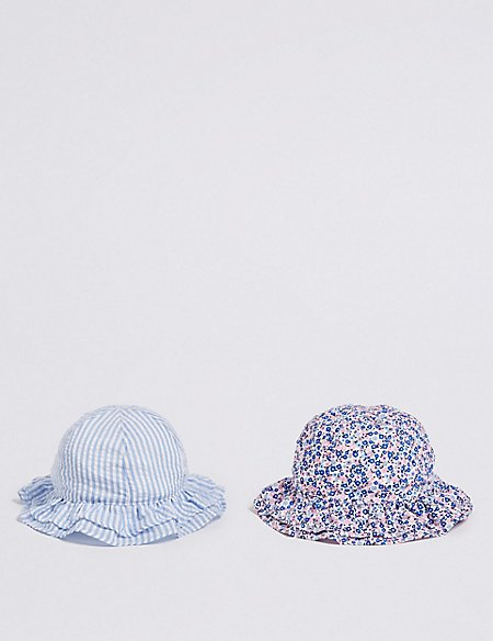Kids' 2 Pack Ditsy Print & Striped Sun Hats (3 Months - 6 Years)
