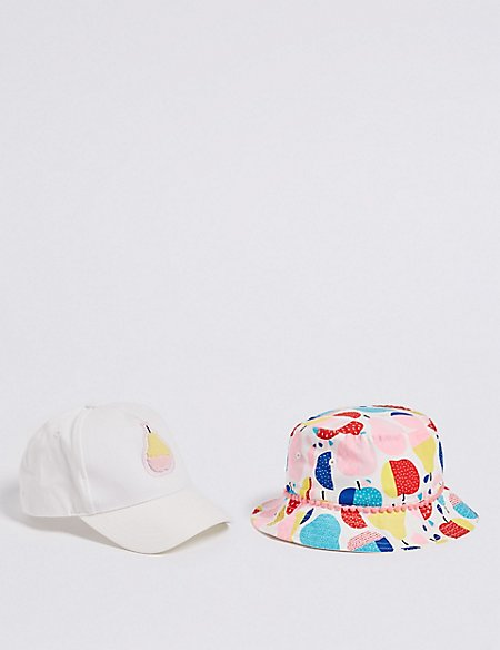 Kids' 2 Pack Pure Cotton Summer Hats (3 Months - 6 Years)