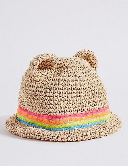 Kids' Novelty Straw Sequin Summer Hat (6 Months - 6 Years)