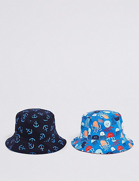Kids' 2 Pack Pure Cotton Nautical Summer Hats (3 Months - 6 Years)