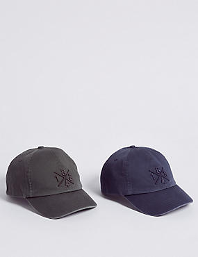 Kids' 2 Pack Pure Cotton Baseball Caps (3 Months - 6 Years)