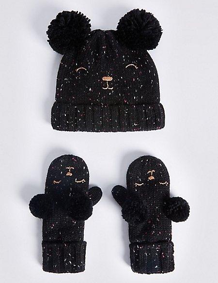 Kids' Wool Rich Double Pom Hat & Mitten Set